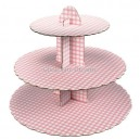 Cake Stand Gingham Pink